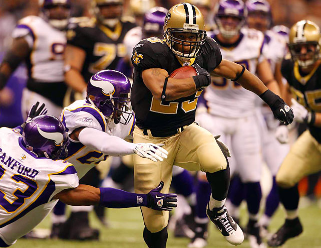 Saints rush to victory in 27-20 win over Vikings in hard fought game.